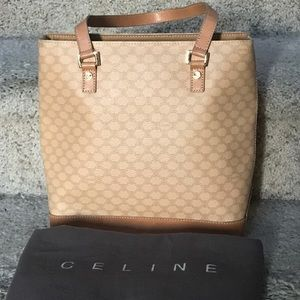 Celine Beige Jacquard Monogram Logo and Leather